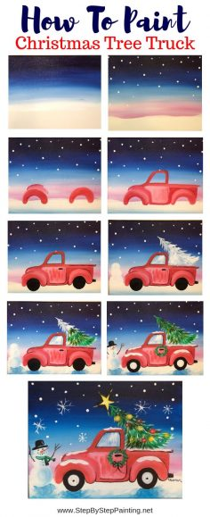 You CAN learn how to paint this online with this tutorial! How To Paint A Christmas Tree Truck – Step By Step Painting #stepbysteppainting  – isabelle blanc