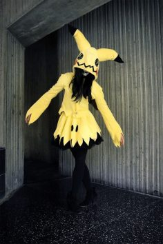 Mimikyu by Mango Sirene | Mimikyu pokemon number 778 #778 dress, outfit, casual cosplay, costume | yellow, fairy, ghost type pikachu (Geek Stuff)  – psycho art