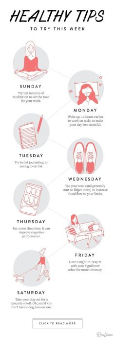 Instead of trying to overhaul the entire week, focus on one small thing a day. These little changes really add up.  – Gabi