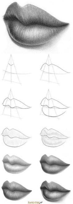 Tutorial: How to Draw Lips – 3/4 View  rapidfireart.com/… (Cool Art) (Cool Art Drawings)  – cladelcroix