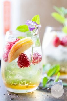 Just Peachy Champagne Spritzer. | www.wildeorchard…. | Perfect patio summer drink. In about 3 minutes. #how I summer.  – Nico