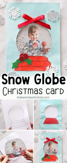 DIY Snow Globe Christmas Card – this handmade Christmas card idea for kids is so cute and fun to make! Great to make for kids to give as a Christmas card to parents or grandparents.  #bestideasforkids #christmas #christmascrafts #christmascards #diy …  – marionalix