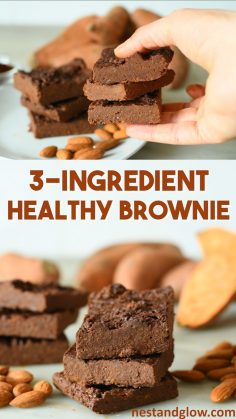 3 Ingredient Healthy Brownies Recipe – easy sweet potato chocolate brownies made from just a few ingredients and loaded with good stuff. This vegan recipe is foolproof to make and naturally gluten free  – sandrinejadart