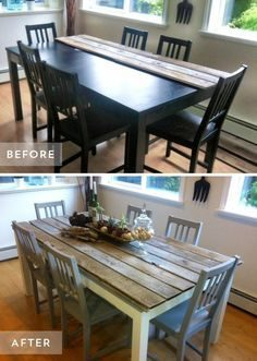 Add style to your dining table by attaching wooden planks.   These 40 DIY tips will instantly beautify your home  – poliamemmi