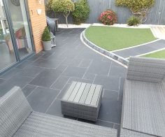 Carbon Black Limestone Flagstones | Modern Patio | Landscaping | Garden Design | Seating |  | Decol Construction Ltd  – Nicolas