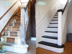 staircase renovation with white and black paint and wall molding – before and after photos  – Odile Lherme