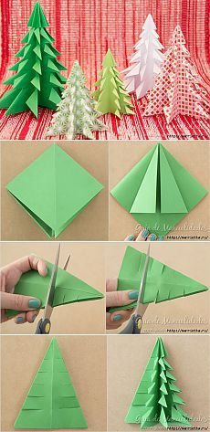 Christmas trees made of paper using origami technique  – spickilulu