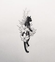 "givememoneyfortattoos: "" Cat in a flower bouquet. Tattoo artist: doy ""  – lilirose0787"