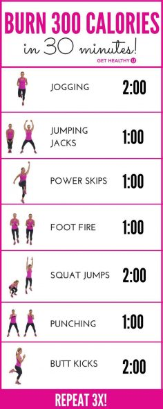 How do we know you�ll burn 300 calories? Most experts agree that the average 150-pound woman, exercising with intensity, will burn about 100 calories in 10 minutes. This 30-minute workout, if done with INTENSITY (you�re working hard enough to bre…  – chantal