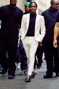 white suit with black turtleneck – would casualize it with trainers  – blckmilk