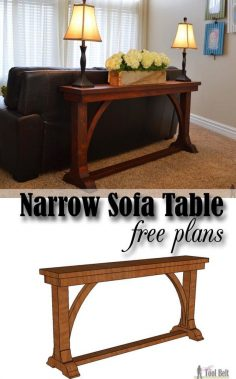 Free DIY plans to build a stylish narrow sofa table for about $30.  – liligagnon