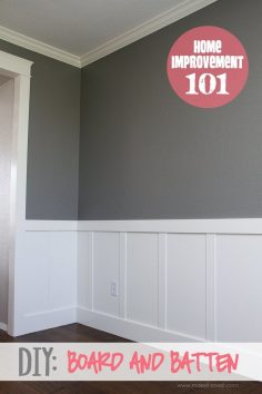 DIY: Board and Batten. You can create this look yourself with this great tutorial!  – gbijouxgourmand