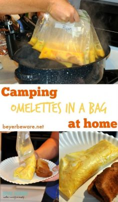 Whether you are camping or have a group to feed breakfast to at home this omelettes in a bag recipe is so easy and fast for feeding a crowd individualized breakfast eggs.  – beyerbeware