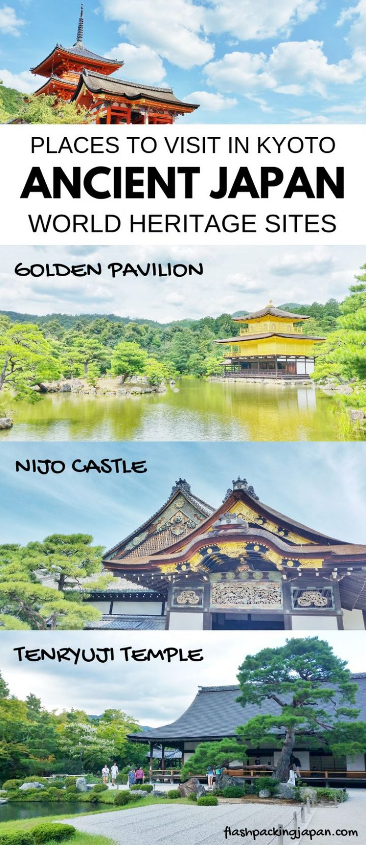 Travel Japan. Travel ideas for ancient Japan culture. Best places to visit in Kyoto Japan. Best things to do in Japan like golden temple, nijo castle, tenryuji temple, kiyomizu-dera temple. Outdoor travel destinations, backpacking Japan itinerary tra…  – khipeu