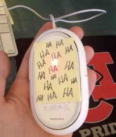 Or block their mouse sensor with a Post-it. | 17 Diabolical Tech Pranks For April Fool's Day  – noelievernel