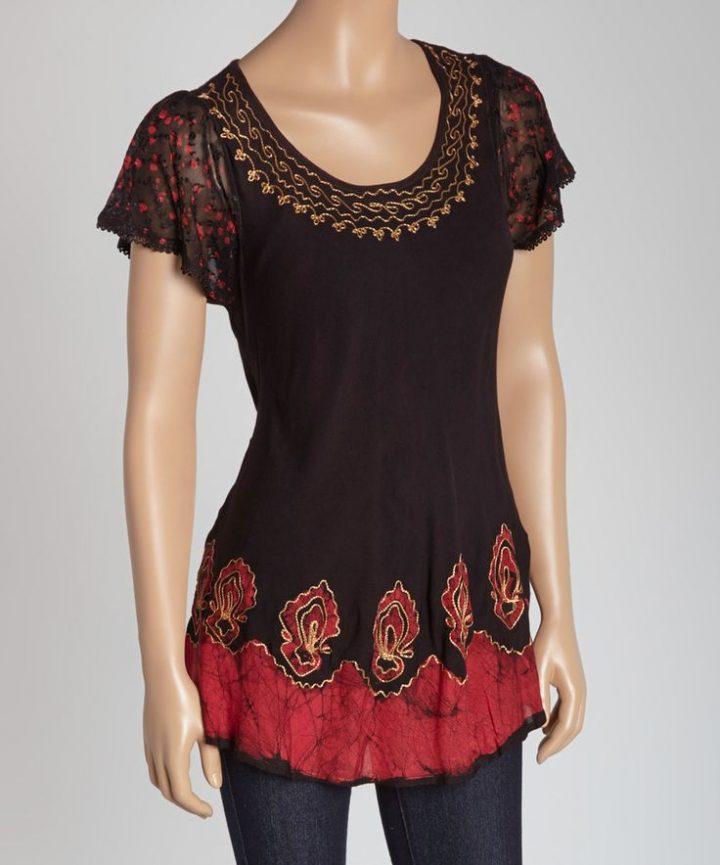 Brown Batik Flutter-Sleeve Top by Advance Apparels #zulily #zulilyfinds  – alow22