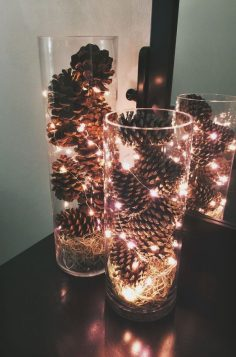 Really super simple to make oneself … Large transparent vases, fill them with pine cones and add a light garland! To be placed everywhere in the house to bring the festive atmosphere to the occasion of Christmas  – Manavon