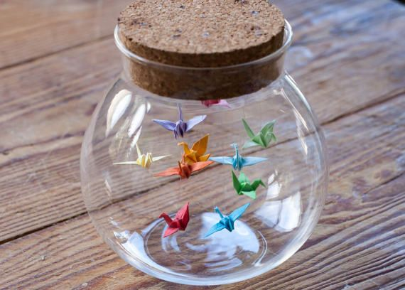 Colorful Origami Birds In The Clear Glass Jar Stock Photo - Image ... | 408x570