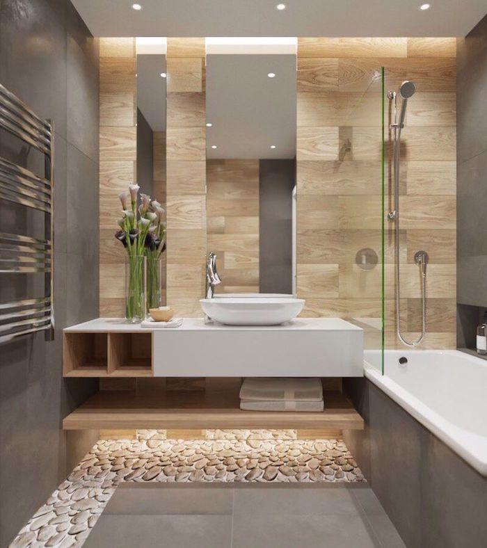 Gray Modern Bathroom with Wall Tile, Bathroom Wall Tile Imitation Wood  Beige - Pctr UP