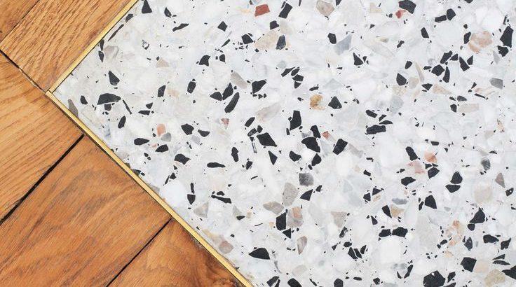 Associate Terrazzo With Solid Wood Flooring Decorative Idea