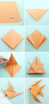 Step instructions how to make origami a fish Vector Image | 360x170